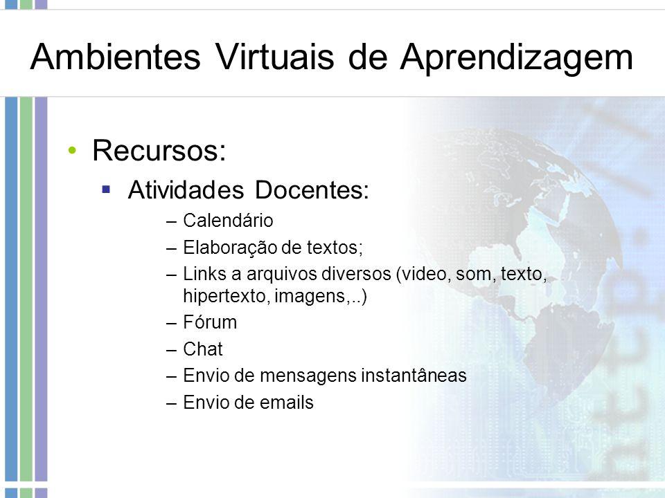 Ambientes Virtuais de Aprendizagem Recursos: Atividades Docentes: –Calendário –Elaboração de textos; –Links a arquivos diversos (video, som, texto, hi