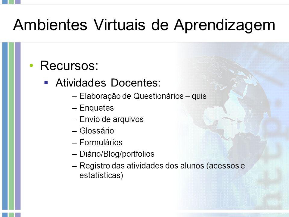 Ambientes Virtuais de Aprendizagem Recursos: Atividades Docentes: –Elaboração de Questionários – quis –Enquetes –Envio de arquivos –Glossário –Formulá