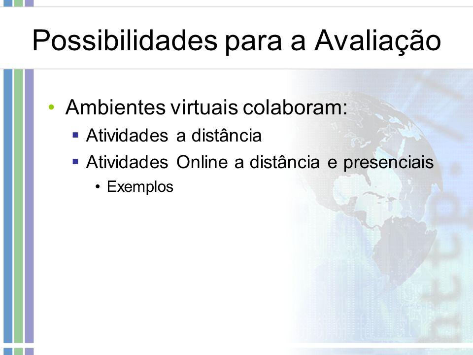 Possibilidades para a Avaliação Ambientes virtuais colaboram: Atividades a distância Atividades Online a distância e presenciais Exemplos