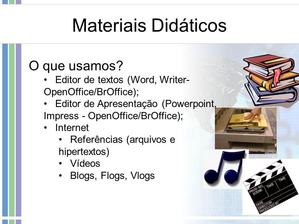 Materiais Didáticos O que usamos? Editor de textos (Word, Writer- OpenOffice/BrOffice); Editor de Apresentação (Powerpoint, Impress - OpenOffice/BrOff