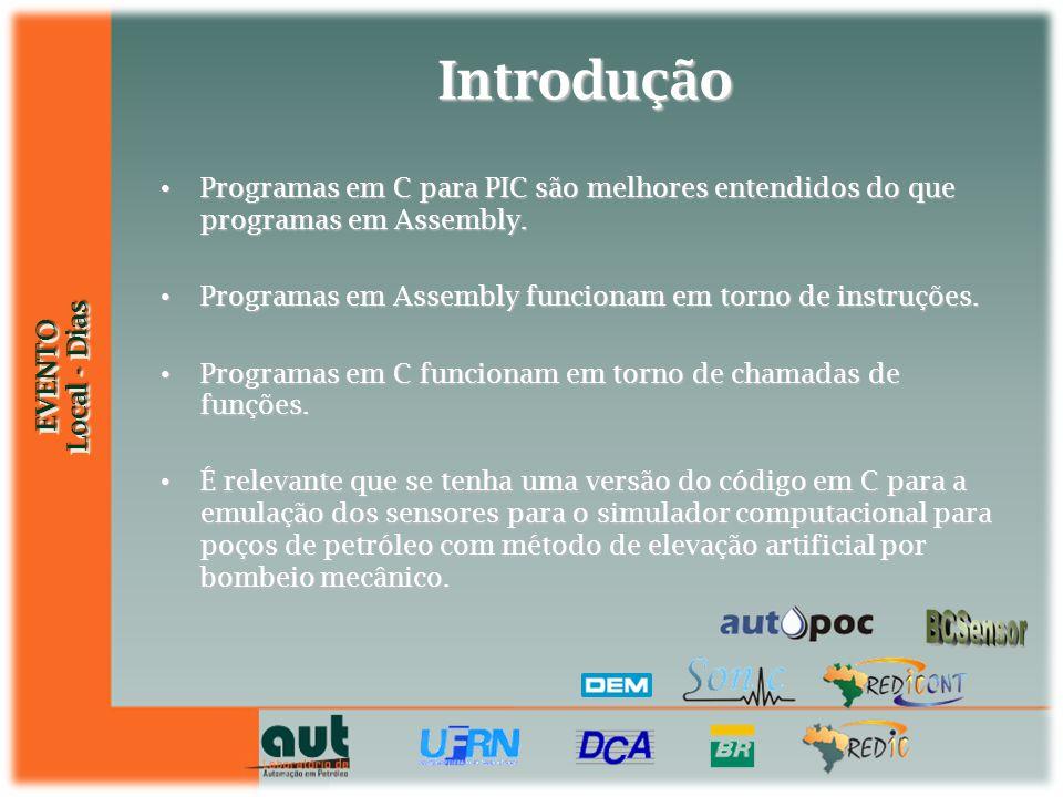 EVENTO Local - Dias EVENTO Introdução Programas em C para PIC são melhores entendidos do que programas em Assembly. Programas em C para PIC são melhor