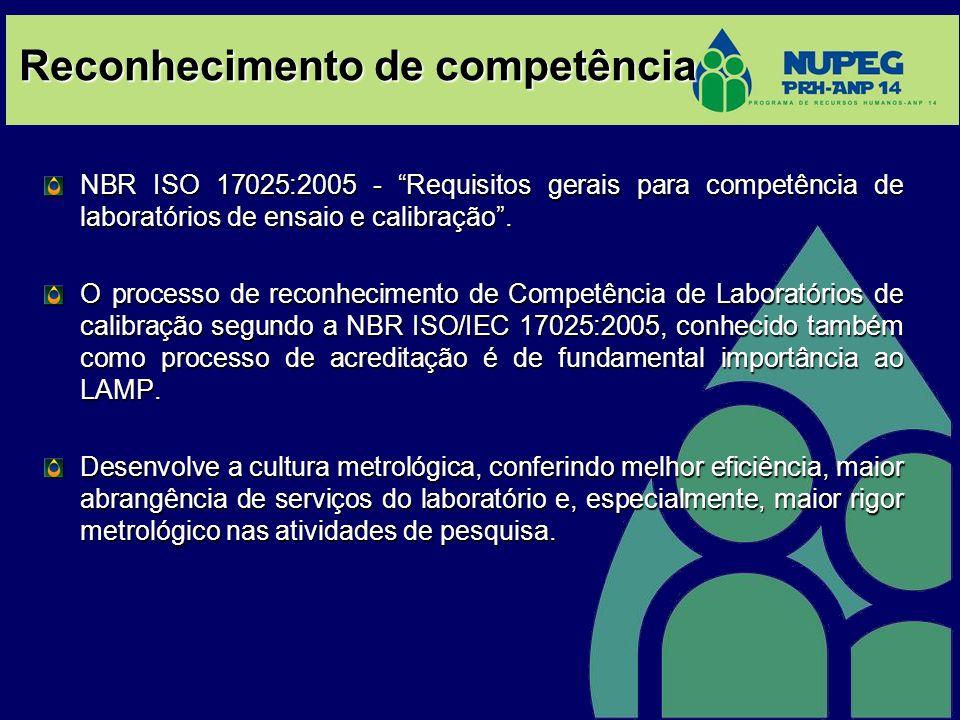 Reconhecimento de competência NBR ISO 17025:2005 - Requisitos gerais para competência de laboratórios de ensaio e calibração.