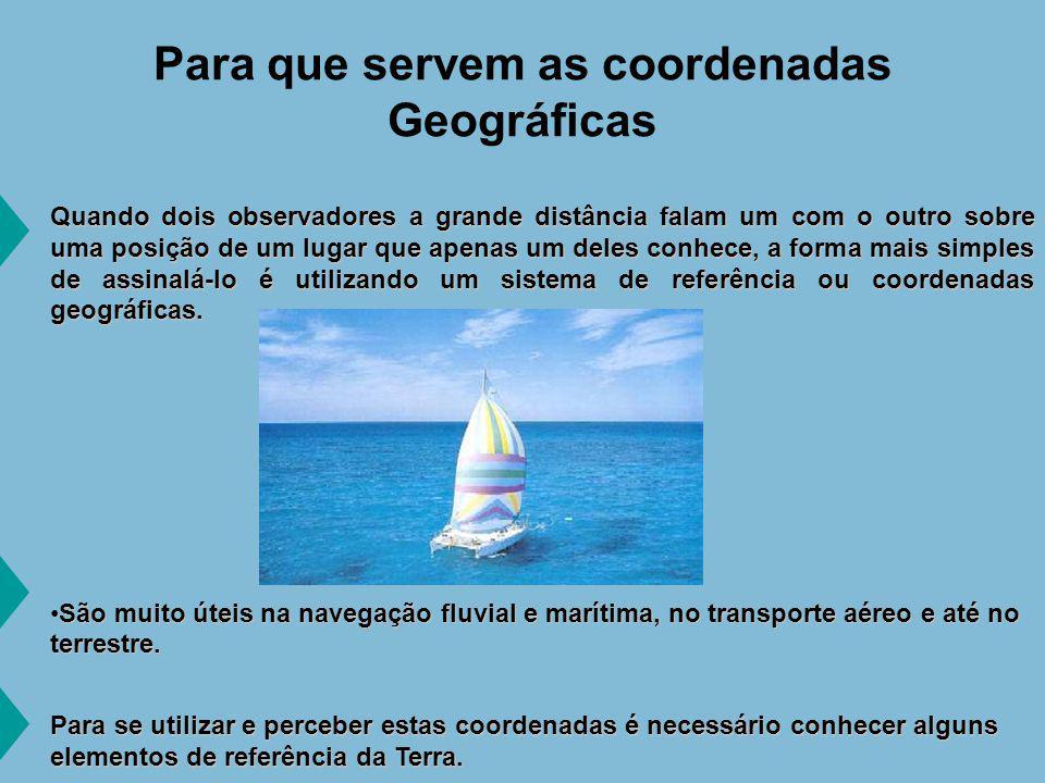 Coordenadas geográficas latitude A latitude é a distância angular (medida em graus) do equador ao paralelo do lugar.