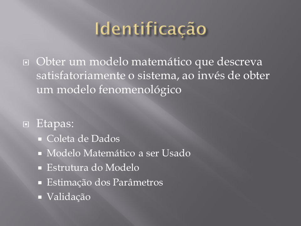 Obter um modelo matemático que descreva satisfatoriamente o sistema, ao invés de obter um modelo fenomenológico Etapas: Coleta de Dados Modelo Matemático a ser Usado Estrutura do Modelo Estimação dos Parâmetros Validação