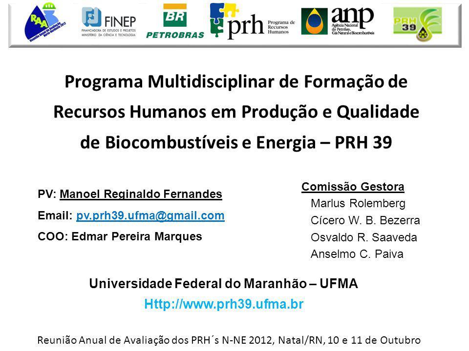Reunião Anual de Avaliação dos PRH´s N-NE 2012, Natal/RN, 10 e 11 de Outubro Programa Multidisciplinar de Formação de Recursos Humanos em Produção e Q