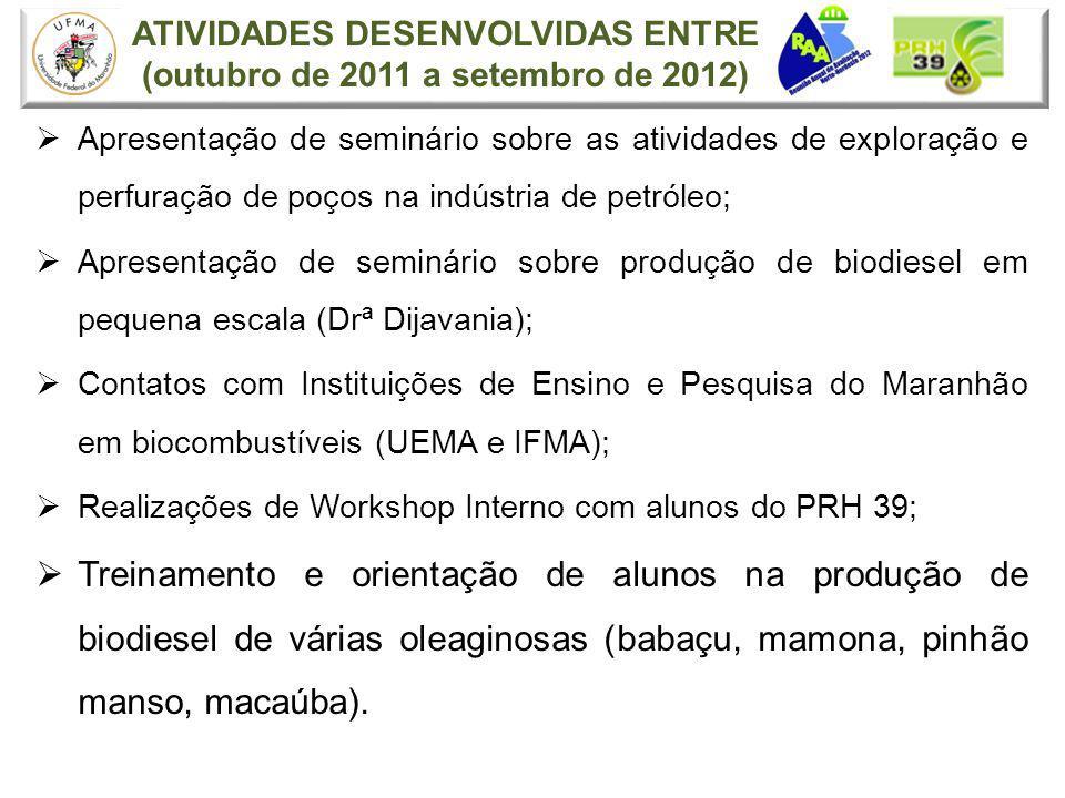 ATIVIDADES DESENVOLVIDAS ENTRE (outubro de 2011 a setembro de 2012) Apresentação de seminário sobre as atividades de exploração e perfuração de poços