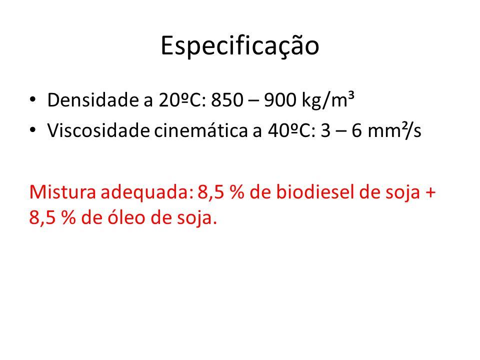 Especificação Densidade a 20ºC: 850 – 900 kg/m³ Viscosidade cinemática a 40ºC: 3 – 6 mm²/s Mistura adequada: 8,5 % de biodiesel de soja + 8,5 % de óle