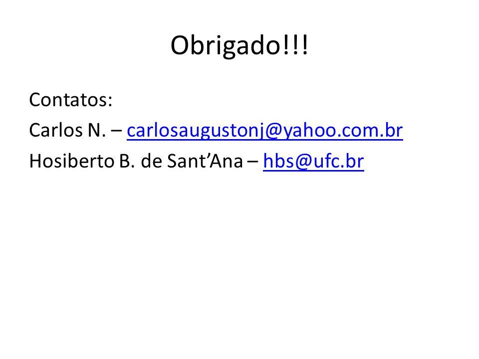 Obrigado!!! Contatos: Carlos N. – carlosaugustonj@yahoo.com.brcarlosaugustonj@yahoo.com.br Hosiberto B. de SantAna – hbs@ufc.brhbs@ufc.br