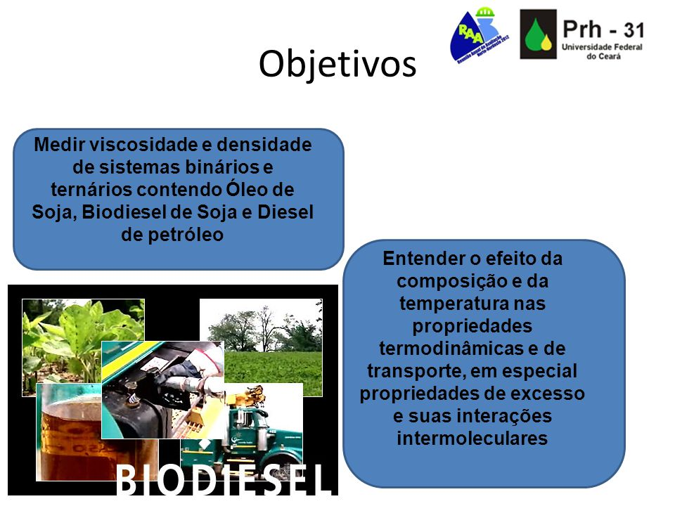 Objetivos Medir viscosidade e densidade de sistemas binários e ternários contendo Óleo de Soja, Biodiesel de Soja e Diesel de petróleo Entender o efei