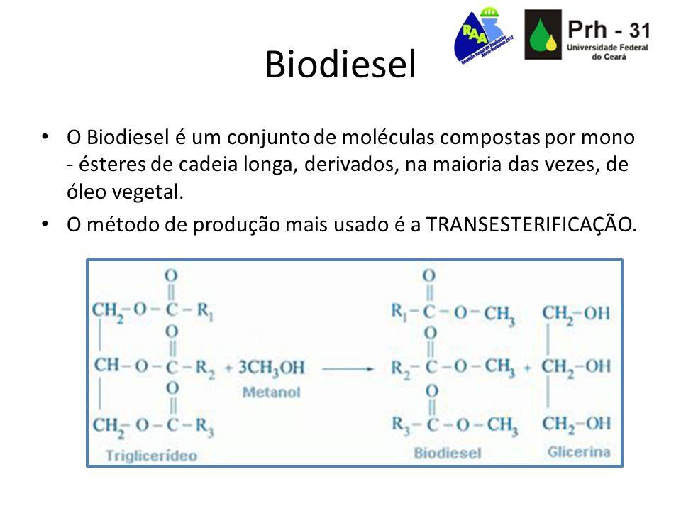 Biodiesel Vantagens Menor emissão de óxido de enxofre 50% menos emissão de material particulado Aproximadamente 80% menos emissões de gases propulsores do efeito estufa Biodegradável Possui alta lubricidade, aumentando a vida útil de motores à combustão Combustível Renovável