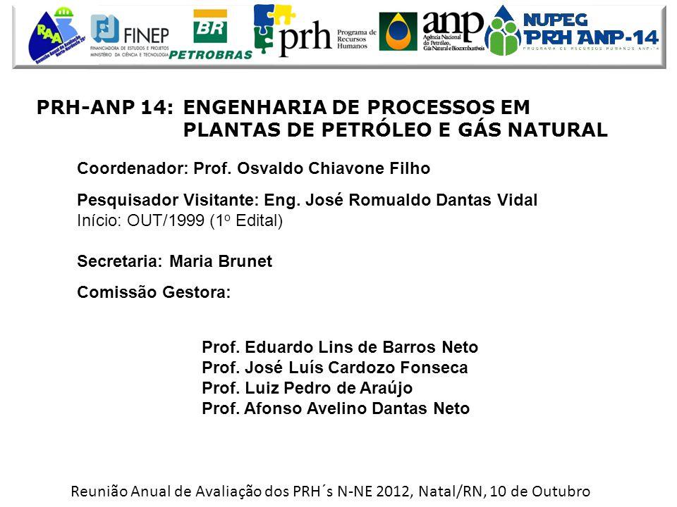 Reunião Anual de Avaliação dos PRH´s N-NE 2012, Natal/RN, 10 de Outubro PRH-ANP 14:ENGENHARIA DE PROCESSOS EM PLANTAS DE PETRÓLEO E GÁS NATURAL Coordenador: Prof.