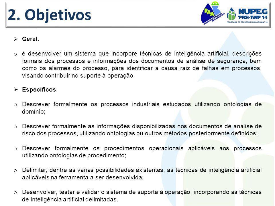 2. Objetivos Específicos: o Descrever formalmente os processos industriais estudados utilizando ontologias de domínio; o Descrever formalmente as info