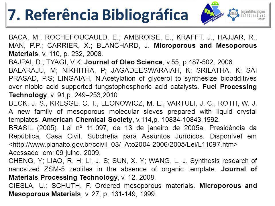 7. Referência Bibliográfica BACA, M.; ROCHEFOUCAULD, E.; AMBROISE, E.; KRAFFT, J.; HAJJAR, R.; MAN, P.P.; CARRIER, X.; BLANCHARD, J. Microporous and M
