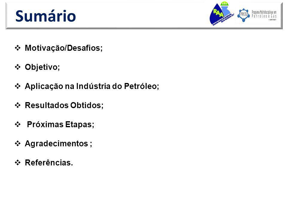 Sumário Motivação/Desafios; Objetivo; Aplicação na Indústria do Petróleo; Resultados Obtidos; Próximas Etapas; Agradecimentos ; Referências.