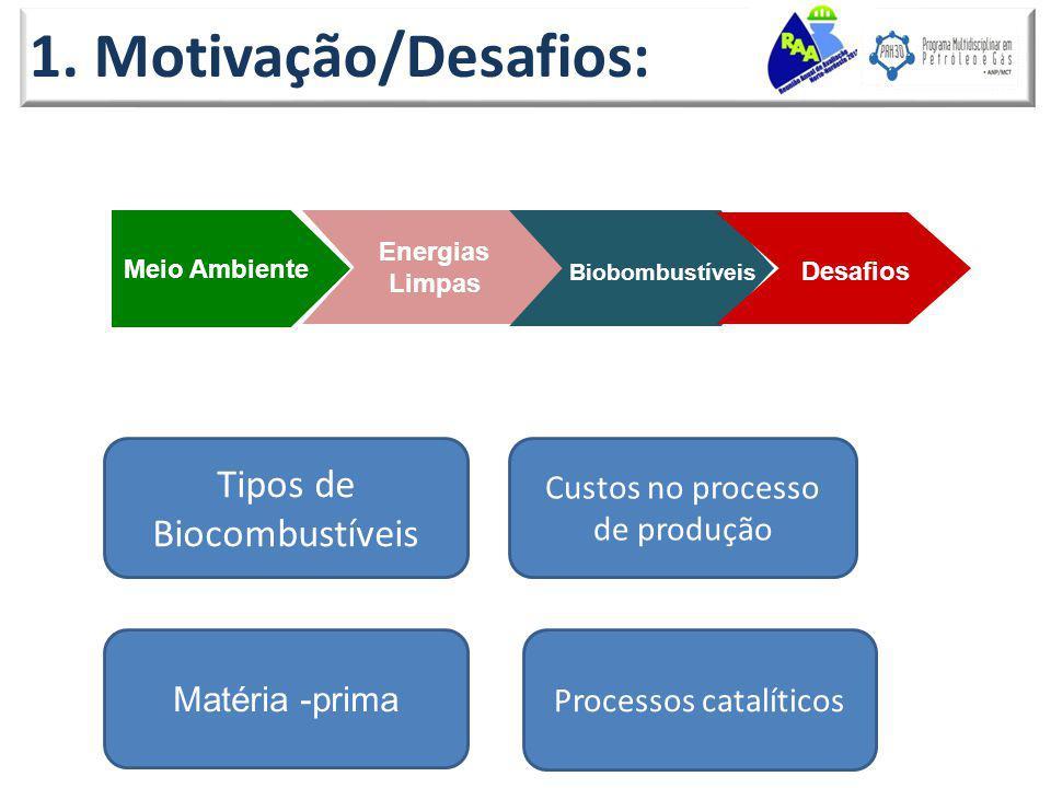 1. Motivação/Desafios: Meio Ambiente Energias Limpas Biobombustíveis Desafios Custos no processo de produção Tipos de Biocombustíveis Matéria -prima P