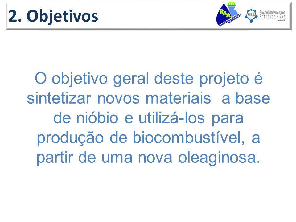 2. Objetivos O objetivo geral deste projeto é sintetizar novos materiais a base de nióbio e utilizá-los para produção de biocombustível, a partir de u