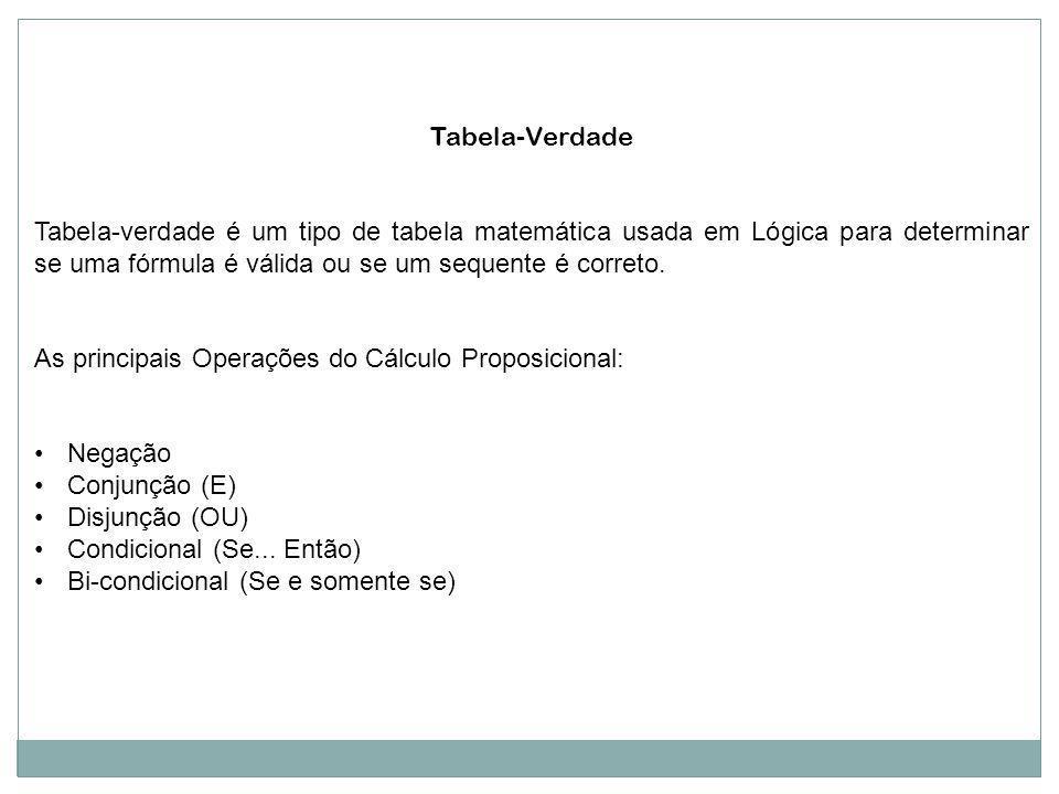 Tabela-Verdade Tabela-verdade é um tipo de tabela matemática usada em Lógica para determinar se uma fórmula é válida ou se um sequente é correto. As p