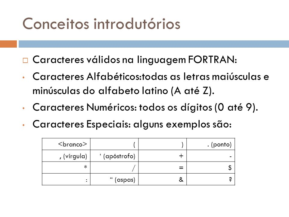 Conceitos introdutórios Caracteres válidos na linguagem FORTRAN: Caracteres Alfabéticos:todas as letras maiúsculas e minúsculas do alfabeto latino (A