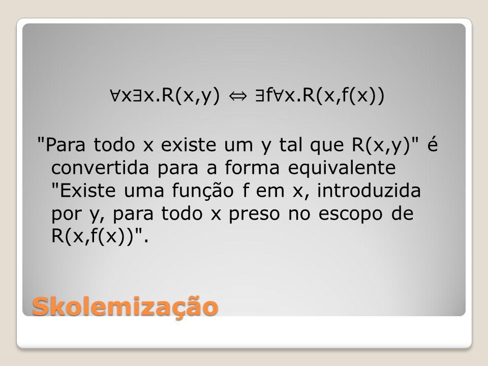 Skolemização x x.R(x,y) f x.R(x,f(x)) Para todo x existe um y tal que R(x,y) é convertida para a forma equivalente Existe uma função f em x, introduzida por y, para todo x preso no escopo de R(x,f(x)) .