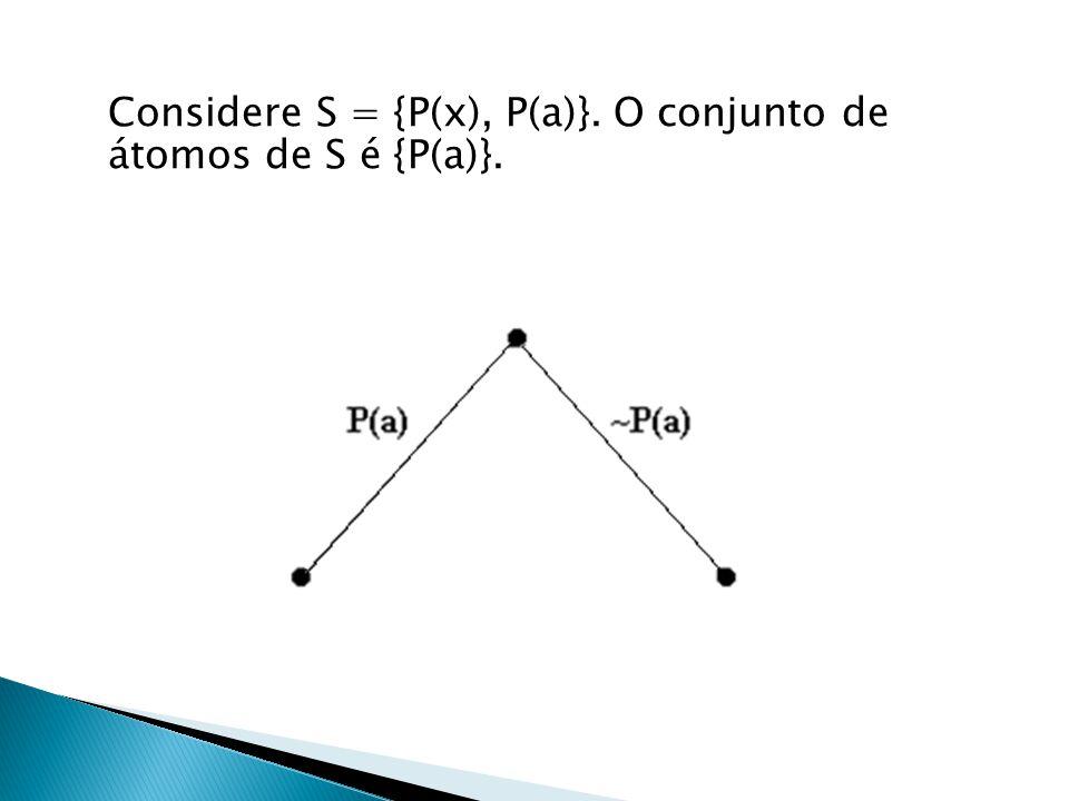 Considere S = {P(x), P(a)}. O conjunto de átomos de S é {P(a)}.
