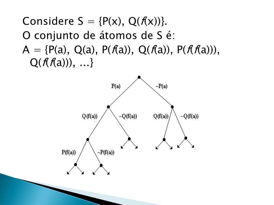Considere S = {P(x), Q(f(x))}. O conjunto de átomos de S é: A = {P(a), Q(a), P(f(a)), Q(f(a)), P(f(f(a))), Q(f(f(a))),...}