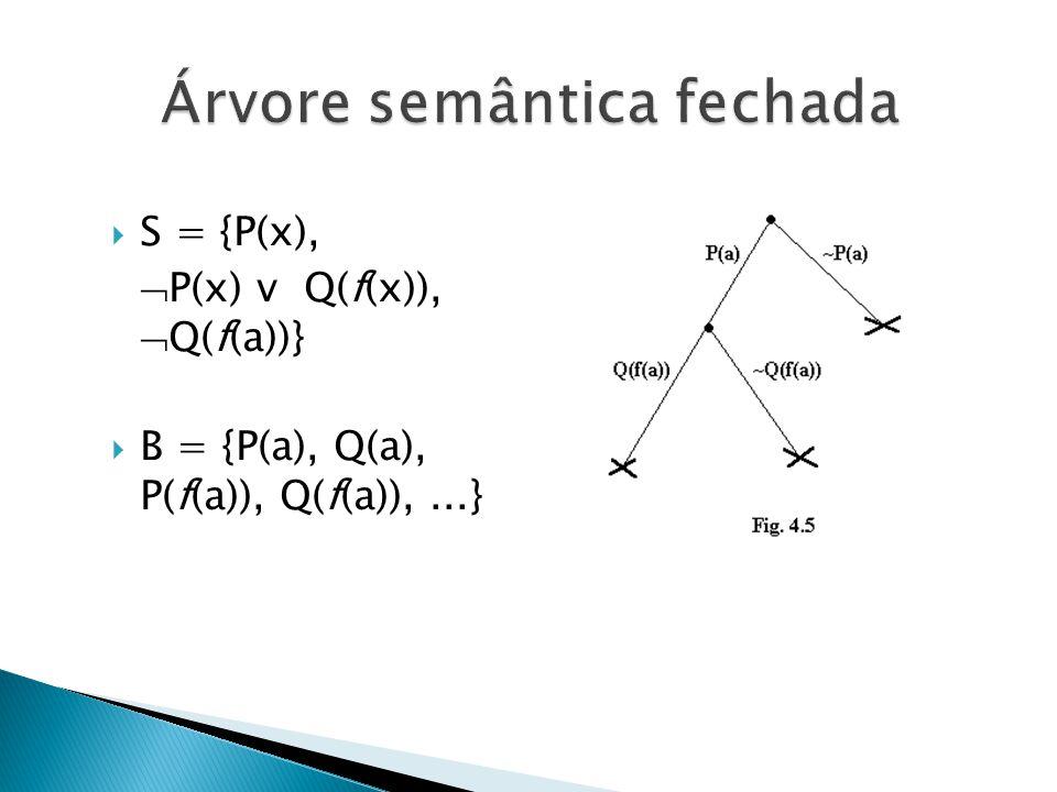 S = {P(x), P(x) v Q(f(x)), Q(f(a))} B = {P(a), Q(a), P(f(a)), Q(f(a)),...}