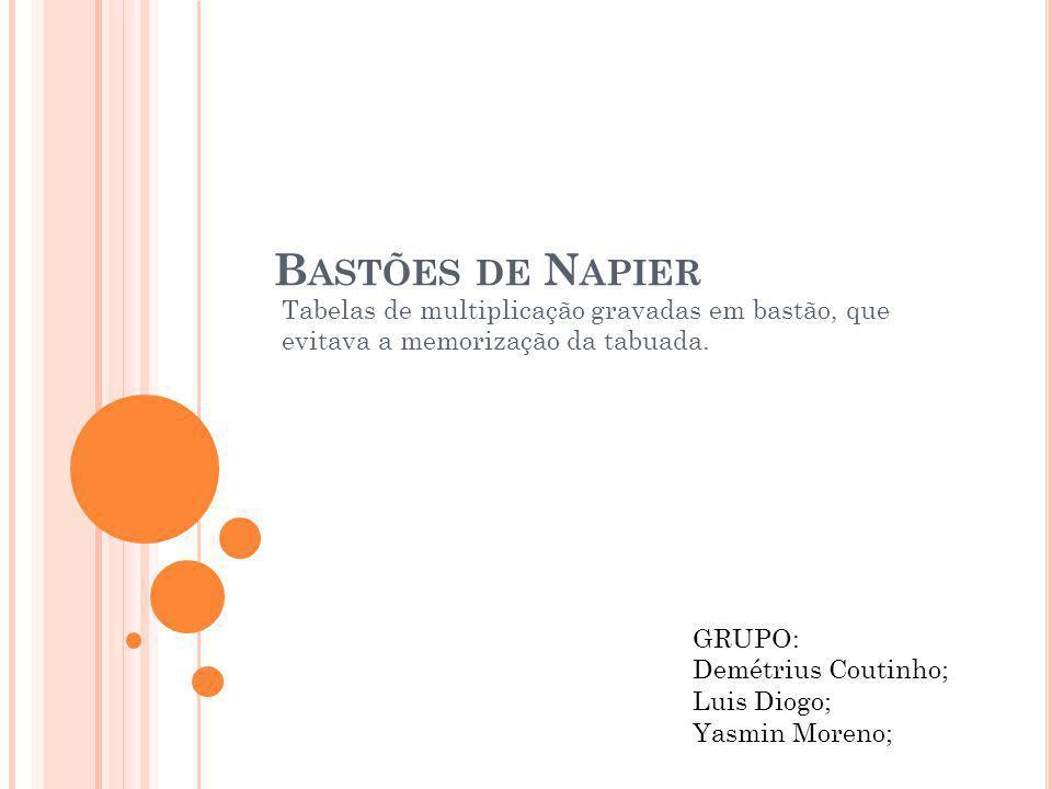 B ASTÕES DE N APIER Tabelas de multiplicação gravadas em bastão, que evitava a memorização da tabuada. GRUPO: Demétrius Coutinho; Luis Diogo; Yasmin M