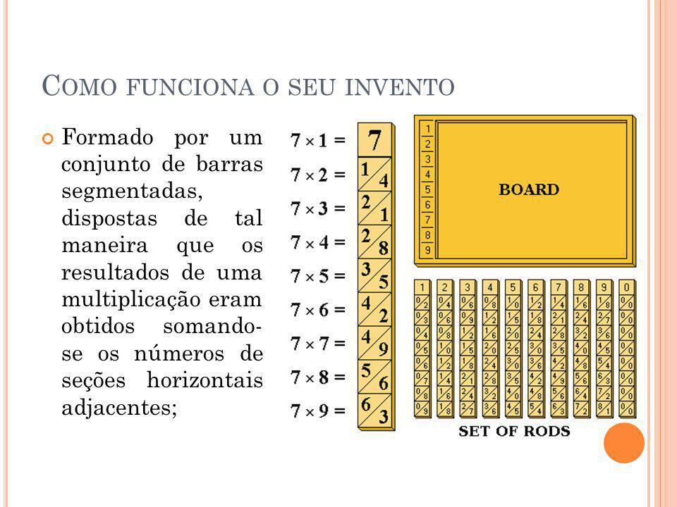 C OMO FUNCIONA O SEU INVENTO Formado por um conjunto de barras segmentadas, dispostas de tal maneira que os resultados de uma multiplicação eram obtid