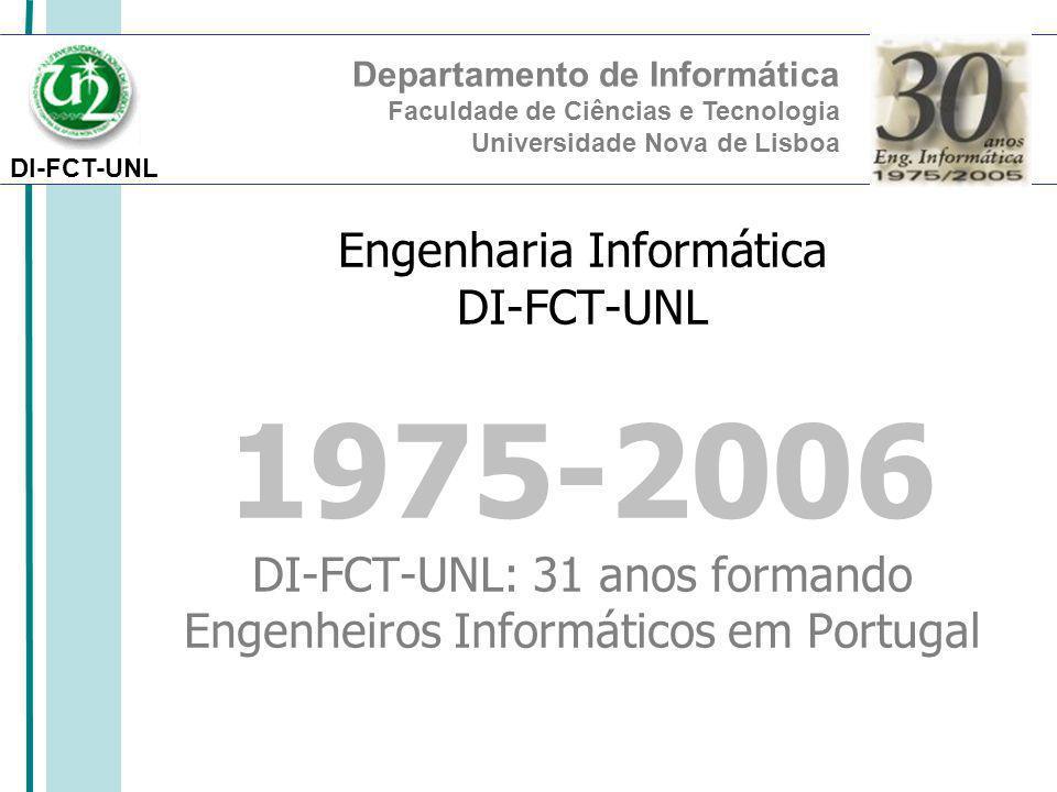 DI-FCT-UNL Departamento de Informática Faculdade de Ciências e Tecnologia Universidade Nova de Lisboa Engenharia Informática DI-FCT-UNL 1975-2006 DI-FCT-UNL: 31 anos formando Engenheiros Informáticos em Portugal