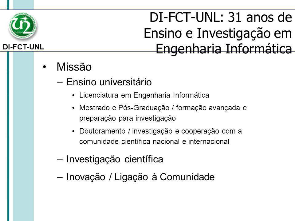 DI-FCT-UNL Missão –Ensino universitário Licenciatura em Engenharia Informática Mestrado e Pós-Graduação / formação avançada e preparação para investigação Doutoramento / investigação e cooperação com a comunidade científica nacional e internacional –Investigação científica –Inovação / Ligação à Comunidade DI-FCT-UNL: 31 anos de Ensino e Investigação em Engenharia Informática