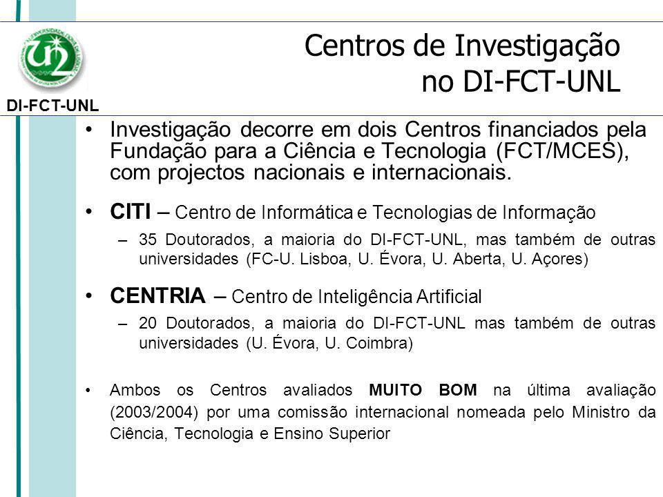 DI-FCT-UNL Centros de Investigação no DI-FCT-UNL Investigação decorre em dois Centros financiados pela Fundação para a Ciência e Tecnologia (FCT/MCES), com projectos nacionais e internacionais.