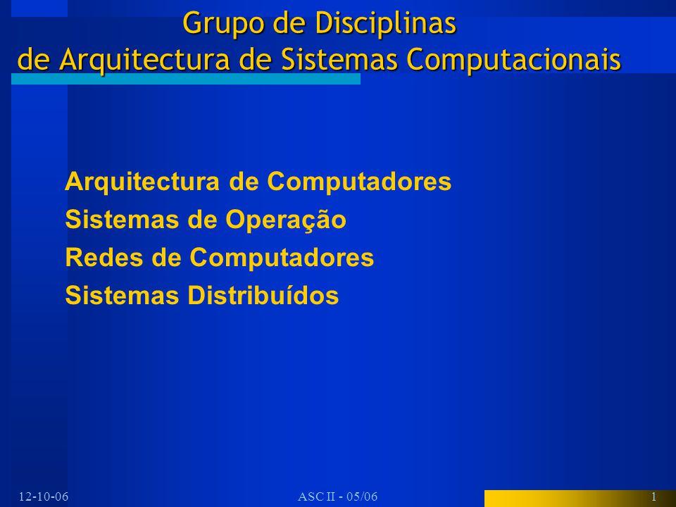 12-10-06ASC II - 05/061 Grupo de Disciplinas de Arquitectura de Sistemas Computacionais Arquitectura de Computadores Sistemas de Operação Redes de Com