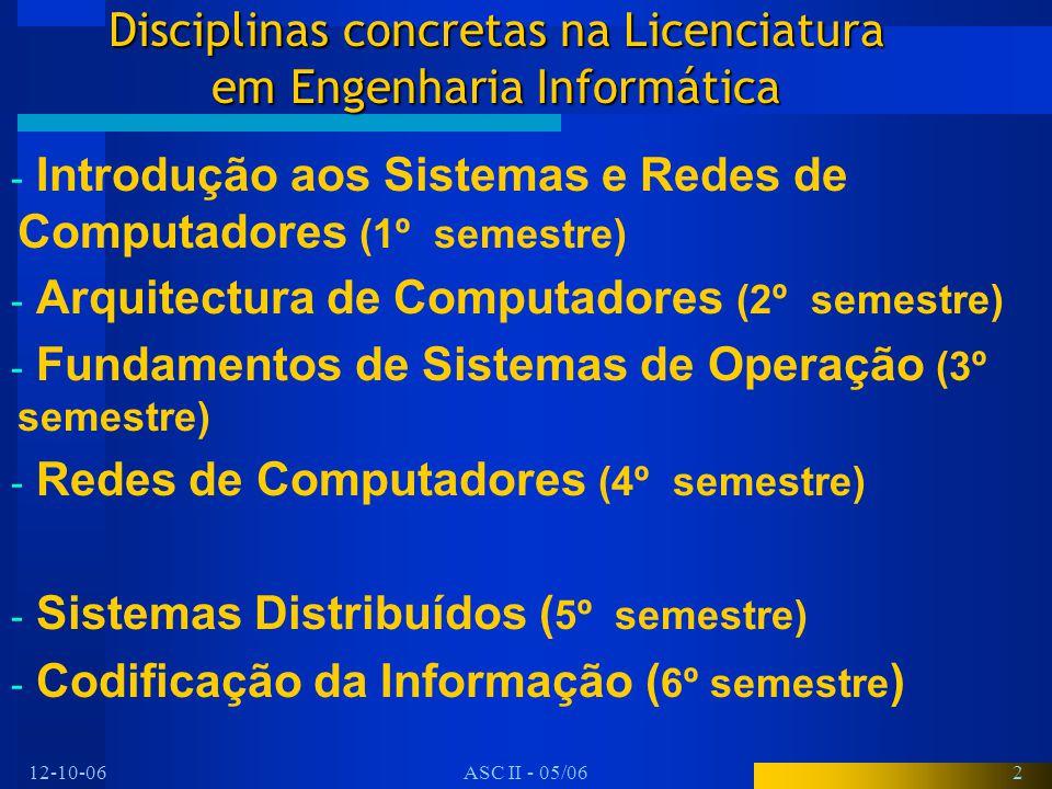 12-10-06ASC II - 05/062 Disciplinas concretas na Licenciatura em Engenharia Informática - Introdução aos Sistemas e Redes de Computadores (1º semestre) - Arquitectura de Computadores (2º semestre) - Fundamentos de Sistemas de Operação (3º semestre) - Redes de Computadores (4º semestre) - Sistemas Distribuídos ( 5º semestre) - Codificação da Informação ( 6º semestre )