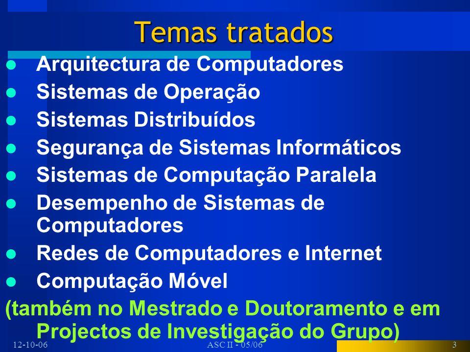 12-10-06ASC II - 05/063 Temas tratados Arquitectura de Computadores Sistemas de Operação Sistemas Distribuídos Segurança de Sistemas Informáticos Sist