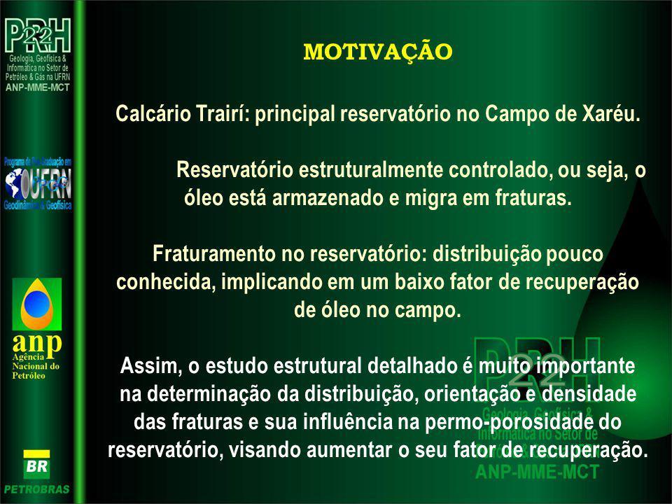 MOTIVAÇÃO Calcário Trairí: principal reservatório no Campo de Xaréu. Reservatório estruturalmente controlado, ou seja, o óleo está armazenado e migra