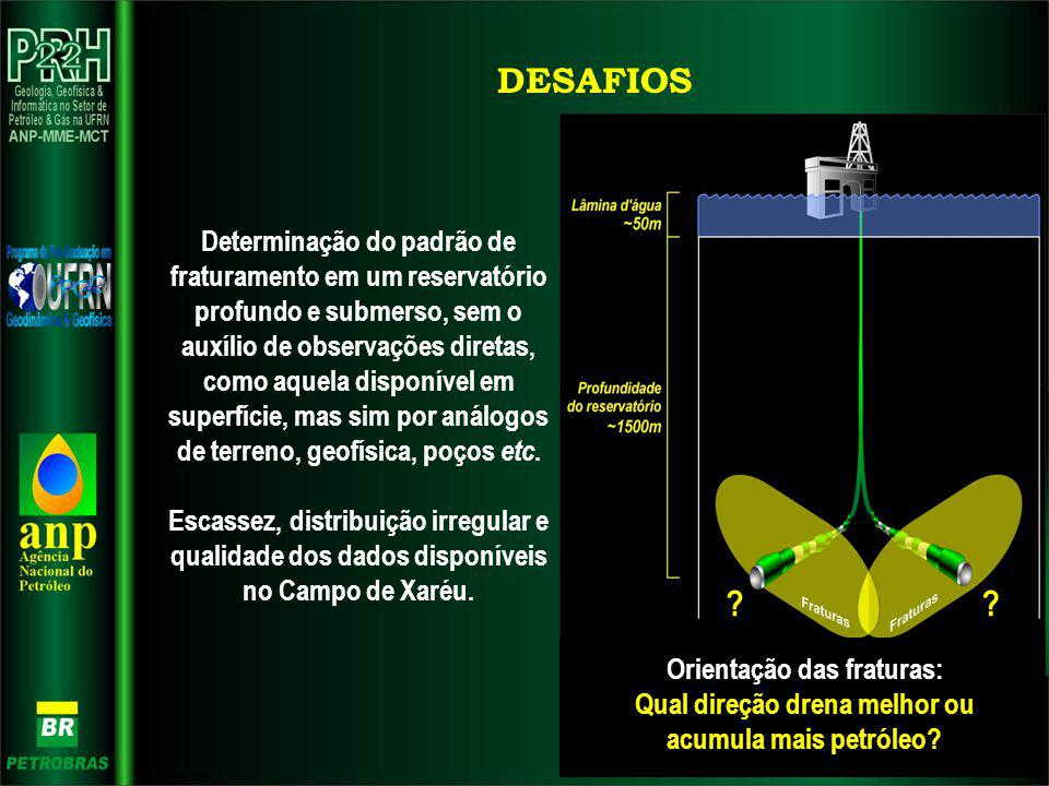 DESAFIOS Determinação do padrão de fraturamento em um reservatório profundo e submerso, sem o auxílio de observações diretas, como aquela disponível e