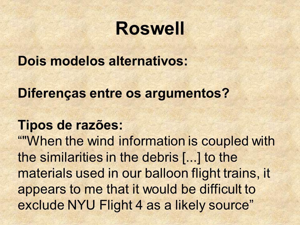 Roswell Dois modelos alternativos: Diferenças entre os argumentos? Tipos de razões: