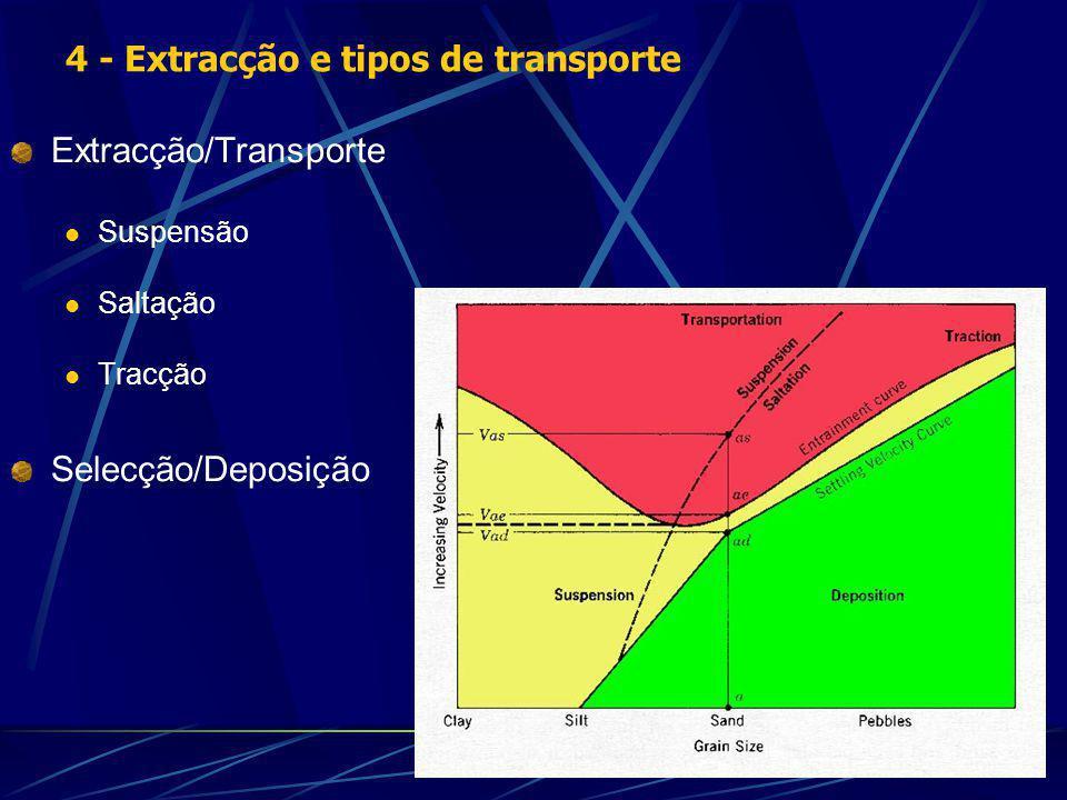 Extracção/Transporte Suspensão Saltação Tracção Selecção/Deposição 4 - Extracção e tipos de transporte