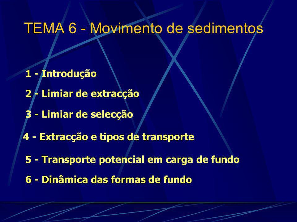 1 - Introdução 3 - Limiar de selecção 2 - 2 - Limiar de extracção 6 - Dinâmica das formas de fundo 5 - Transporte potencial em carga de fundo TEMA 6 - Movimento de sedimentos 4 - Extracção e tipos de transporte