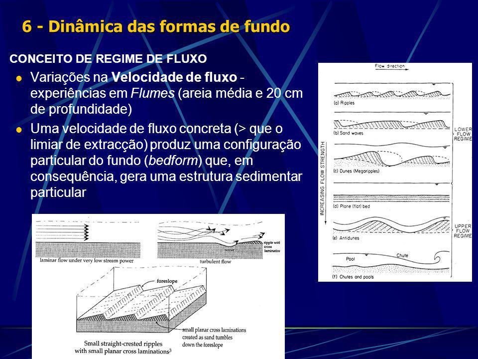 CONCEITO DE REGIME DE FLUXO Variações na Velocidade de fluxo - experiências em Flumes (areia média e 20 cm de profundidade) Uma velocidade de fluxo concreta (> que o limiar de extracção) produz uma configuração particular do fundo (bedform) que, em consequência, gera uma estrutura sedimentar particular 6 - Dinâmica das formas de fundo