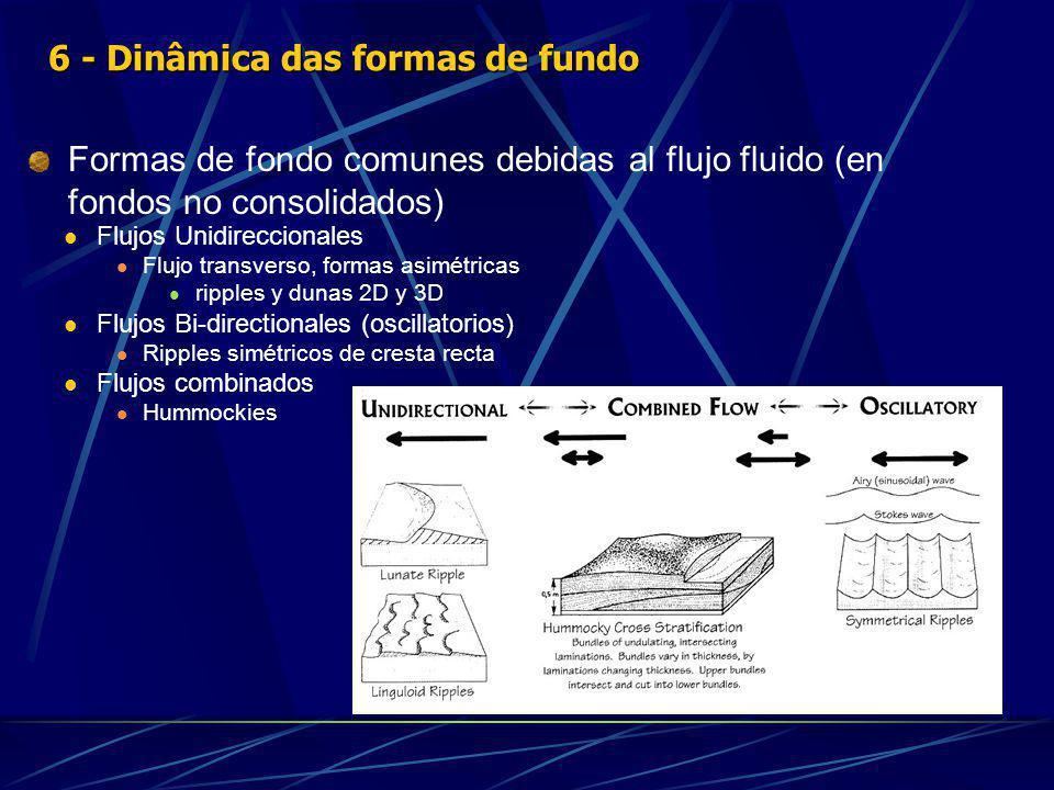 Formas de fondo comunes debidas al flujo fluido (en fondos no consolidados) Flujos Unidireccionales Flujo transverso, formas asimétricas ripples y dunas 2D y 3D Flujos Bi-directionales (oscillatorios) Ripples simétricos de cresta recta Flujos combinados Hummockies 6 - Dinâmica das formas de fundo
