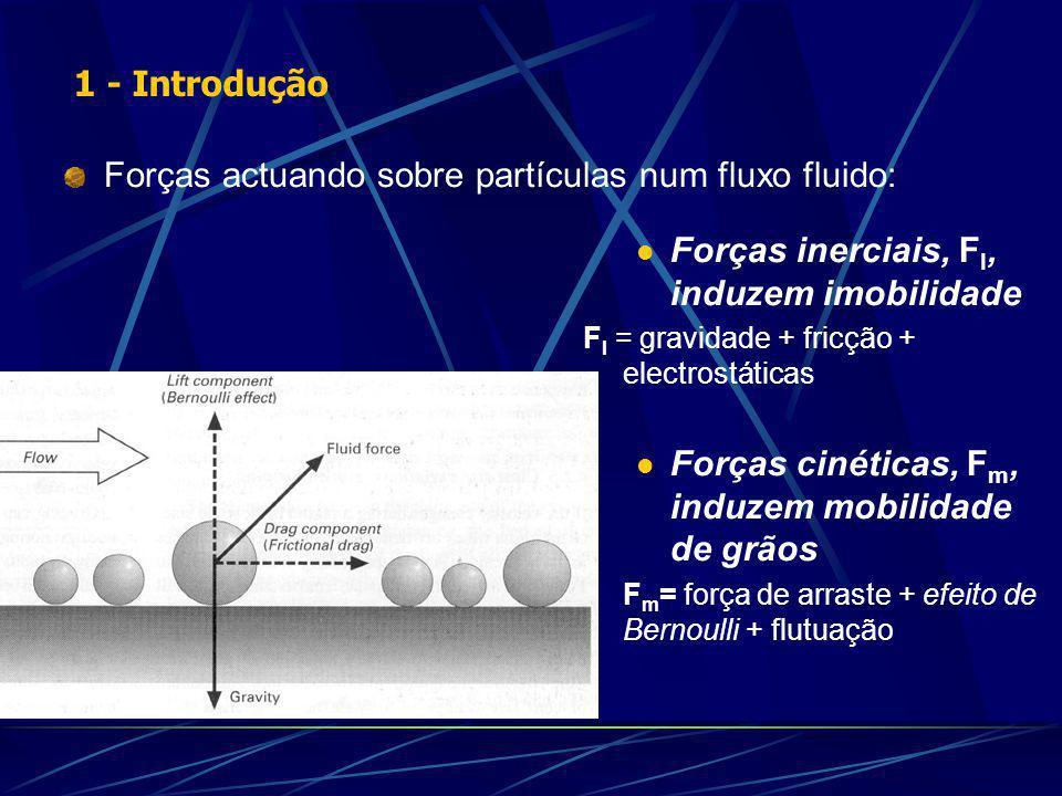 Forças actuando sobre partículas num fluxo fluido: Forças inerciais, F I, induzem imobilidade F I = gravidade + fricção + electrostáticas Forças cinéticas, F m, induzem mobilidade de grãos F m = força de arraste + efeito de Bernoulli + flutuação 1 - Introdução