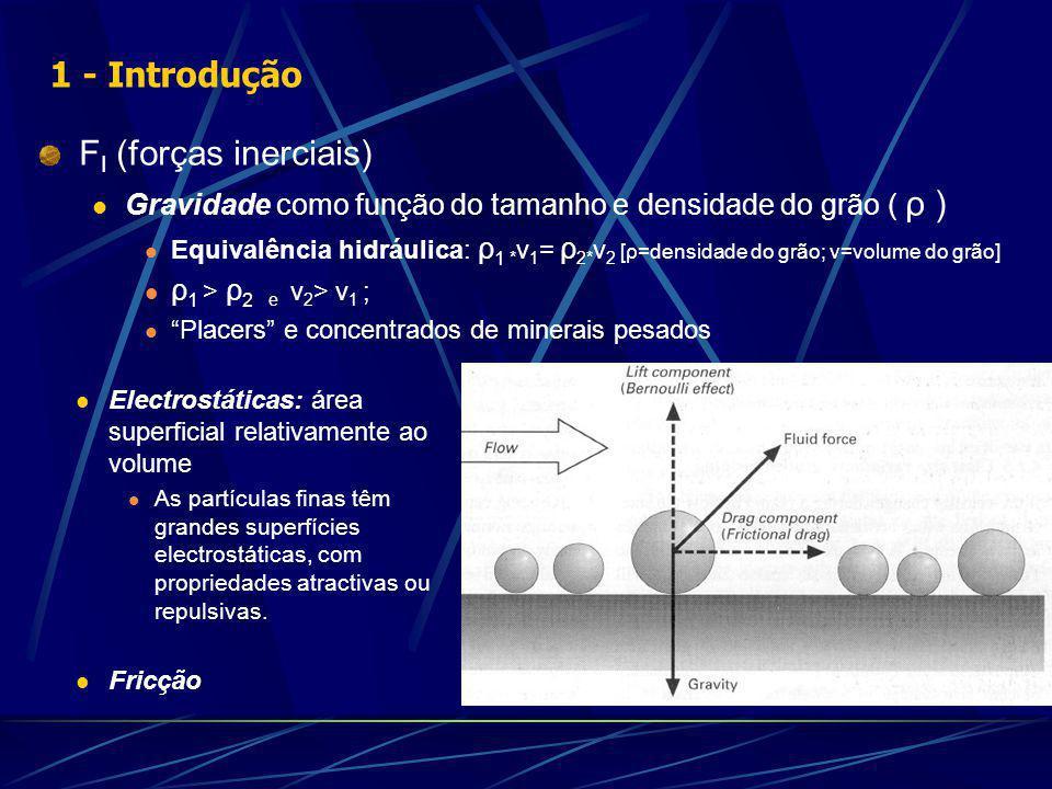 F I (forças inerciais) Gravidade como função do tamanho e densidade do grão ( ρ ) Equivalência hidráulica: ρ 1 * v 1 = ρ 2* v 2 [ρ=densidade do grão; v=volume do grão] ρ 1 > ρ 2 e v 2 > v 1 ; Placers e concentrados de minerais pesados Electrostáticas: área superficial relativamente ao volume As partículas finas têm grandes superfícies electrostáticas, com propriedades atractivas ou repulsivas.