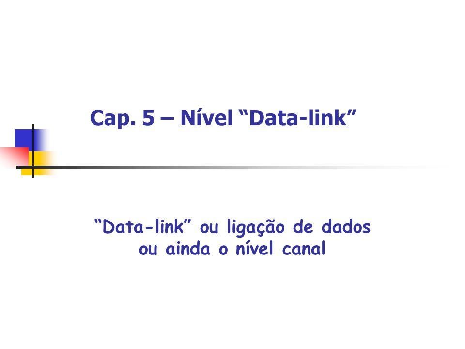 Cap. 5 – Nível Data-link Data-link ou ligação de dados ou ainda o nível canal