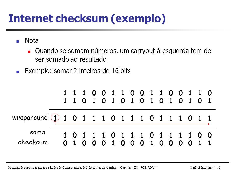 Material de suporte às aulas de Redes de Computadores de J. Legatheaux Martins – Copyright DI - FCT/ UNL – O nível data-link / 15 Internet checksum (e