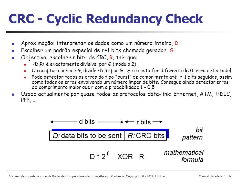 Material de suporte às aulas de Redes de Computadores de J. Legatheaux Martins – Copyright DI - FCT/ UNL – O nível data-link / 16 CRC - Cyclic Redunda
