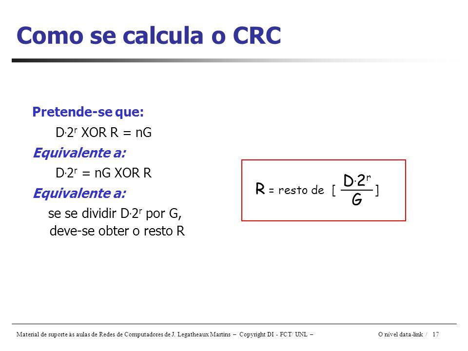 Material de suporte às aulas de Redes de Computadores de J. Legatheaux Martins – Copyright DI - FCT/ UNL – O nível data-link / 17 Como se calcula o CR