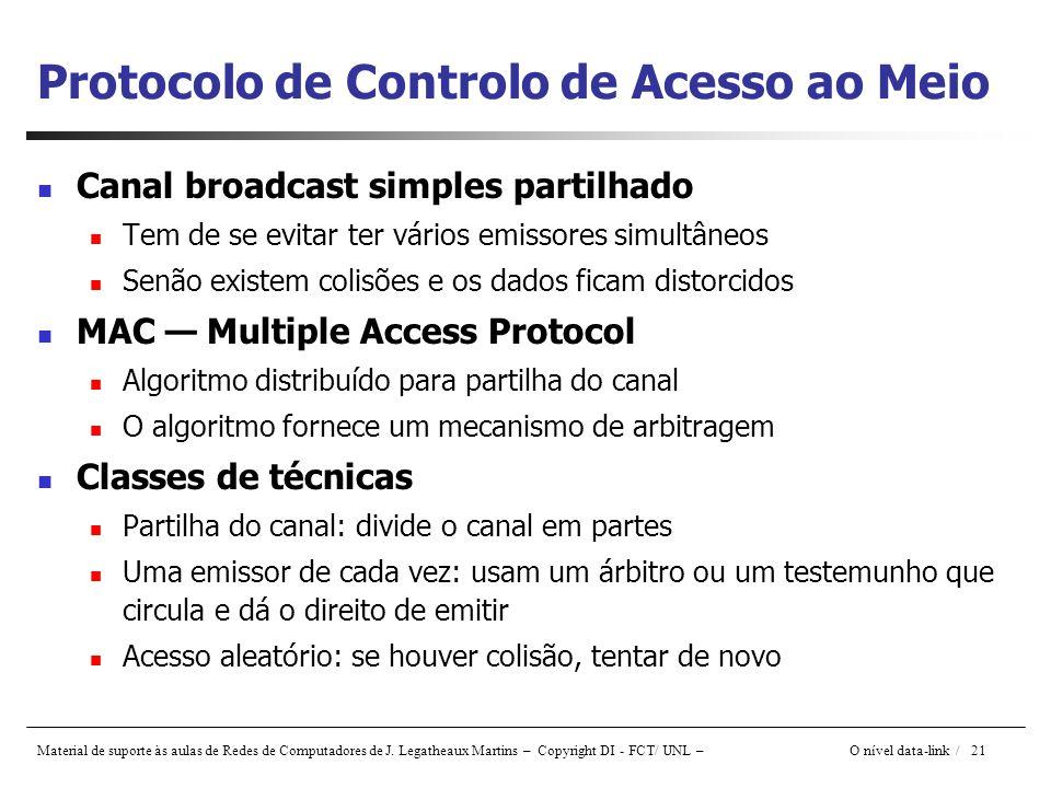 Material de suporte às aulas de Redes de Computadores de J. Legatheaux Martins – Copyright DI - FCT/ UNL – O nível data-link / 21 Protocolo de Control