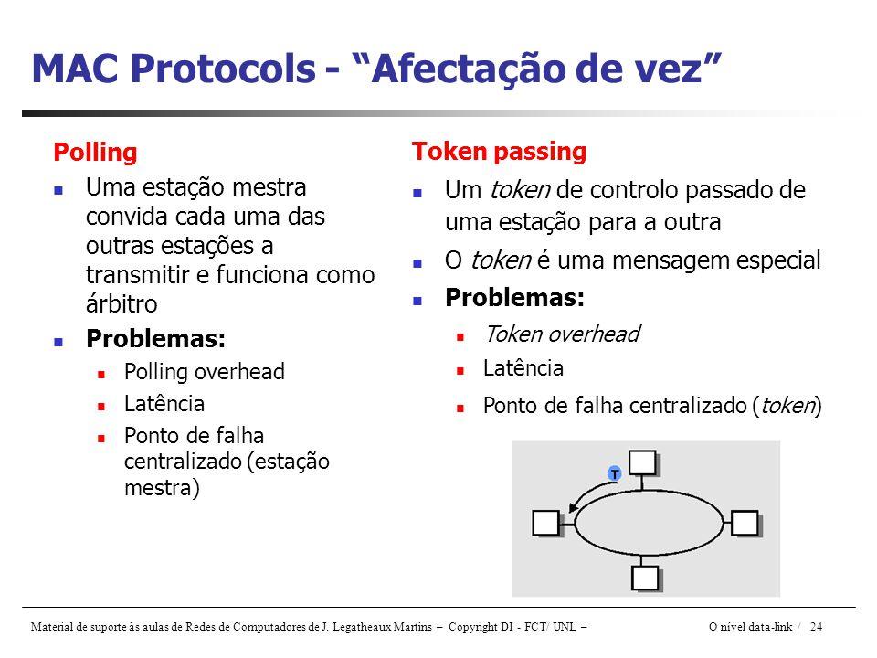 Material de suporte às aulas de Redes de Computadores de J. Legatheaux Martins – Copyright DI - FCT/ UNL – O nível data-link / 24 MAC Protocols - Afec