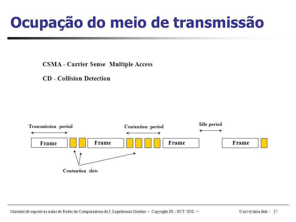 Material de suporte às aulas de Redes de Computadores de J. Legatheaux Martins – Copyright DI - FCT/ UNL – O nível data-link / 37 Ocupação do meio de